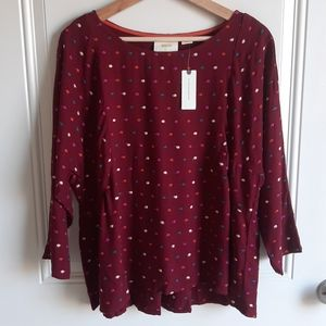 NWT Maeve Dottie Embroidered Blouse Top Size Small